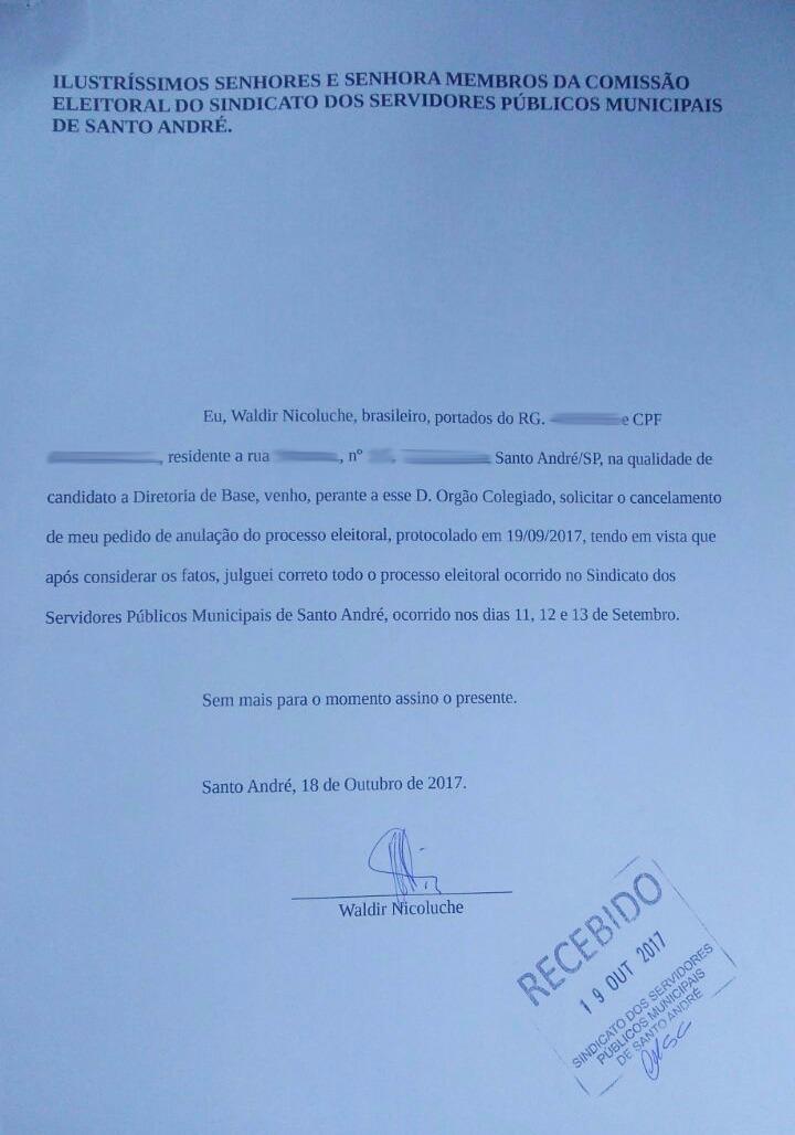 Imagem de Candidato cancela pedido de anulação da eleição sindical e reconhece legitimidade das urnas