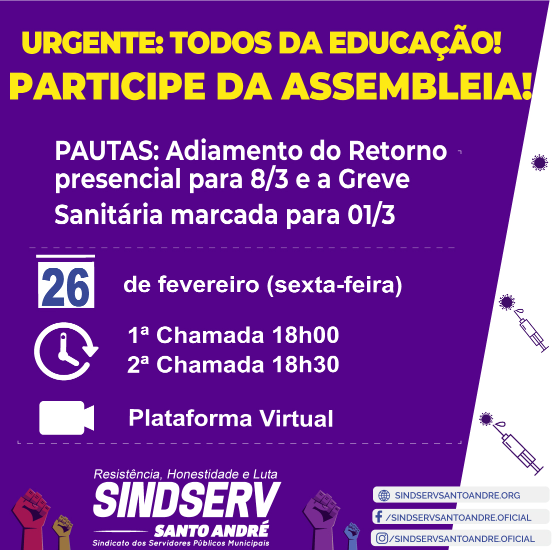 Imagem de Sindserv Santo André realiza Assembleia Virtual com trabalhadores da Educação nesta sexta (26)