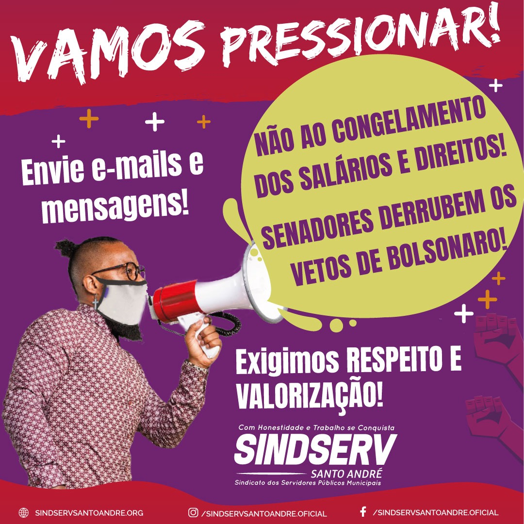 Imagem de Vamos PRESSIONAR: Senadores derrubem os vetos de Bolsonaro ao congelamento dos nossos salários