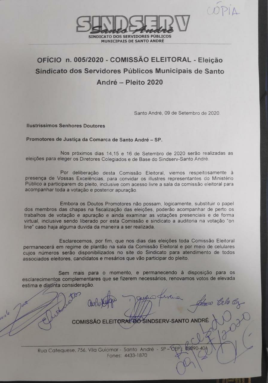Imagem de Comissão Eleitoral  convida Ministério Público para acompanhar Eleição do Sindserv Santo André